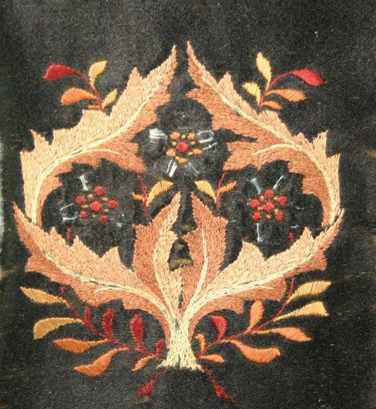 Detail of embroidered binding, possibly by May Morris, from St Andrew's University 52 Weeks of Fantastic Bindings